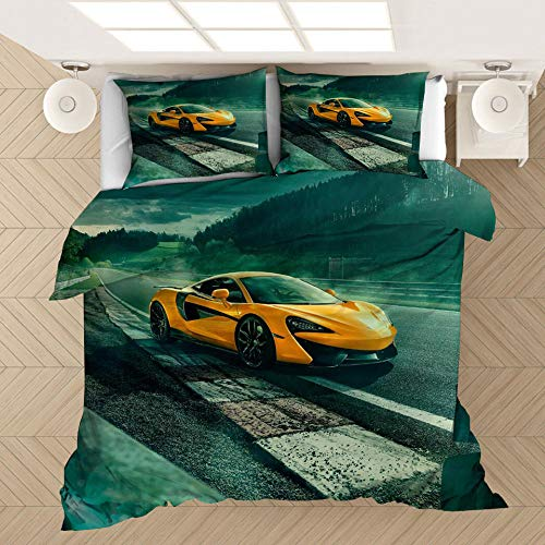 YMYGYR 3D printed luxury sports car pattern bedding, suitable for duvet covers and pillowcases, for friends who like sports cars-F_135x200cm(2pcs)