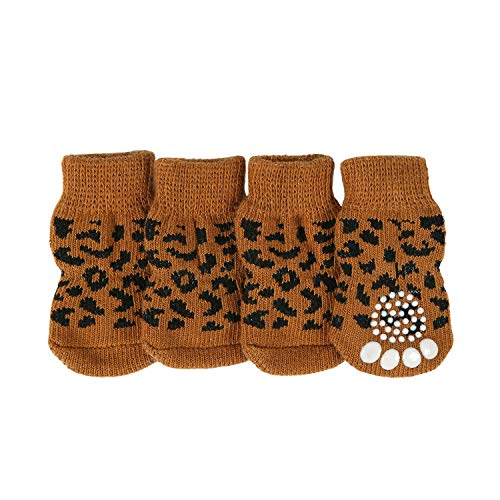 lanboer 4 Pieces Anti-Slip Knit Dog Socks for Indoor Wear, Traction Control Pet Paw Protectors with...