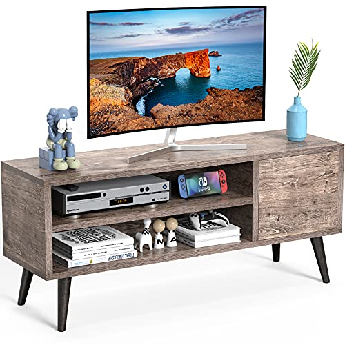 TV Console Table with Storage for TVs up to 55-in, Retro TV Stand for Media Cable Box Gaming Consoles, Mid-Century Modern TV Stand & Entertainment Center Wood TV Stand for Living Room Bedroom,APRTS01G