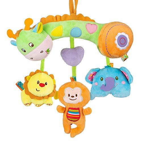 MOOKLIN ROAM Baby Kinderwagen Spielzeug, Spirale Bett Kinderwagen Spielzeug Mit Beißring, Lernspielzeug Geschenk für Neugeborene und Kleinkinder (Giraffe)