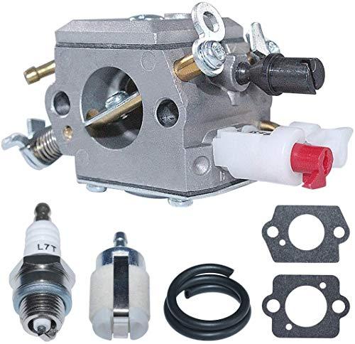 ZW18U Carburador Compatible Juego de líneas de Filtro de Combustible de carburador para Husqvarna 340 345 346 350 353 Zama C3-EL18B Motosierra Reemplaza 503283208 Renovación de carburador