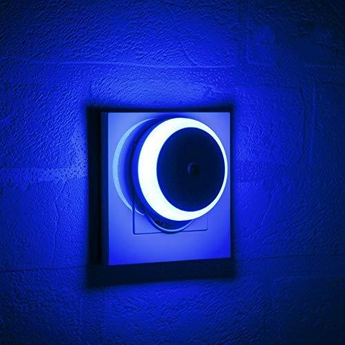 Luce Notturna LED Blu, Con Sensore Crepuscolare, Luce Diffusa, Classe di Efficienza Energetica A, Luce Notturna per Camera da Letto, Bagno, Corridoio, Scale, Camera dei Bambini, 2 Pezzi