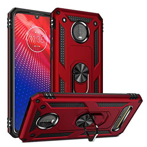 Rebex Compatible with Moto Z4 Case,Moto Z4 Play Case,Moto z4 Force Case Cover, Tough Heavy Protective 360 Metal Rotating Ring Kickstand Holder Grip Magnetic Metal Armor Heavy Duty Shockproof (Red)