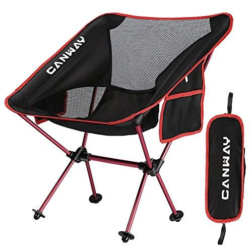 CANWAY Campingstuhl Campingstühle faltbar klappbar tragbar Angel Stuhl Camping Stuhl verstellbar Strandstuhl Angelstuhl Klapphocker mit kleinem Packmaß (Rot)