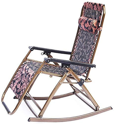 TUHFG Recliner Rocking Folding Sun Lounger Deck Chair Rocking Recliner Garden Bed Reclining Chair with Armrest,for Patio Back Garden Camping Picnic Beach Outdoor