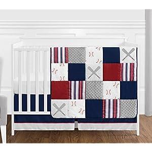 Sweet Jojo Designs Red, White and Blue Baseball Patch Sports Baby Boy Crib Bedding Set – 4 Pieces – Grey Patchwork Stripe