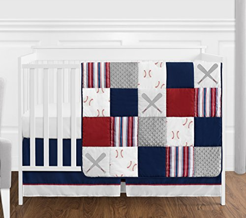 Sweet Jojo Designs Red, White and Blue Baseball Patch Sports Baby Boy Crib Bedding Set - 4 Pieces - Grey Patchwork Stripe