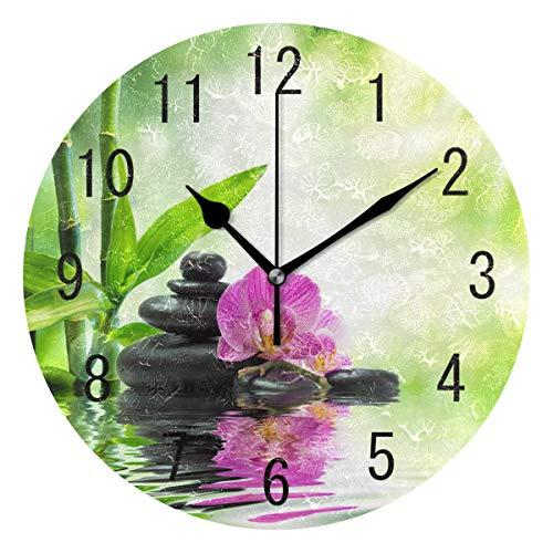Use7 Home Decor Wanduhr, Orchidee, Blumen, Zen-Stein, Bambus, Landschaft, Natur, rund, Acryl, geräuschlose Uhr, Kunst für Wohnzimmer, Küche, Schlafzimmer