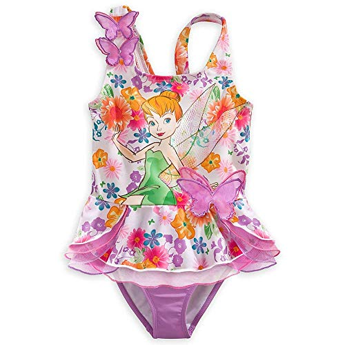 Disney Store Tinkerbell Fairy Swimsuit Size Medium 7/8 Deluxe 2-Pc Swimwear