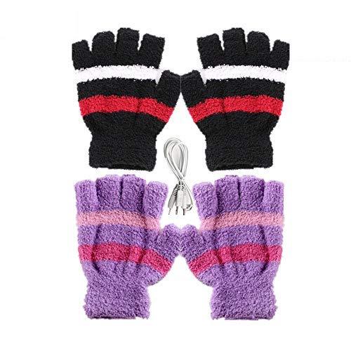 DECVO USB 2.0 Powered Stripes Heating Pattern Knitting Wool Heated Gloves Fingerless Hands Warmer Mittens Laptop Computer Warm Gloves for Women Men Girls Boys 2 Pack (Purple+Black)