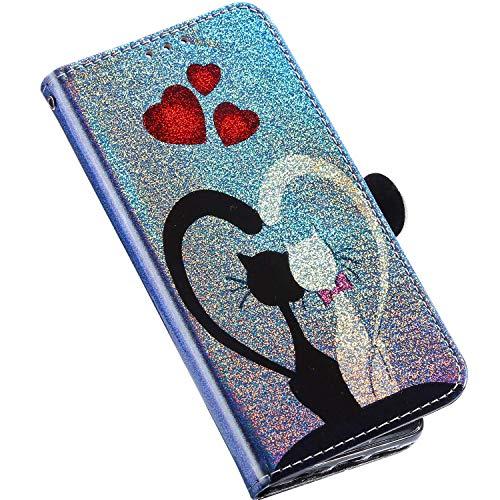 Kompatibel mit Samsung Galaxy S8 Hülle Glitzer Bling Klappbar Leder Pu Handytasche Laser Gemalt Muster Flip Case Handyhülle Ständer Brieftasche Schutzhülle mit Kartenfächer,Katze