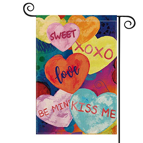 AVOIN Watercolor Love Heart Garden Flag Vertical Double Sized Love Be Mine XOXO Sweet Kiss me, Holiday Valentine's Day Anniversary Wedding Yard Outdoor Decoration 12.5 x 18 Inch
