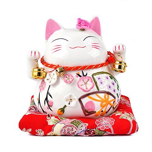Statue de Chat Japonais en Porcelaine avec Cloches Porte-Bonheur et Tirelire