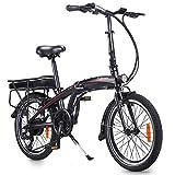 Bicicleta Eléctrica Plegable de 20 Pulgadas con Pedales, Bicicleta Eléctrica 250W 36V 10AH Velocidad máxima 25 km/h Bicicleta Ideal para Mujeres y Ancianos (Carga Rapida & Entrega Rápida)
