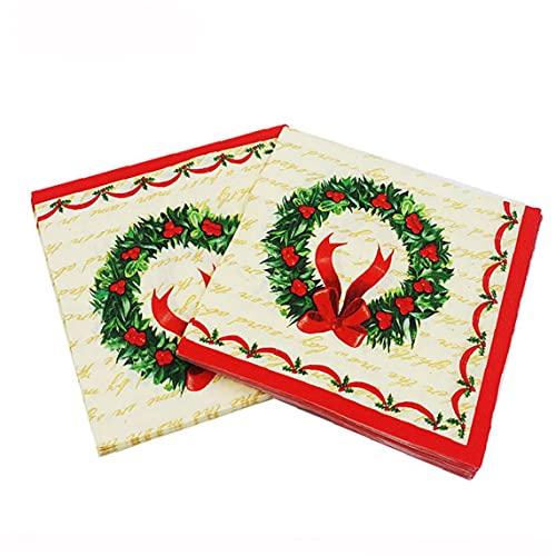 Froiny 20 Pcs/Pack Napkins Navidades Papel Impreso Servilleta Desechable Tailware Accesorios para Cena del Almuerzo