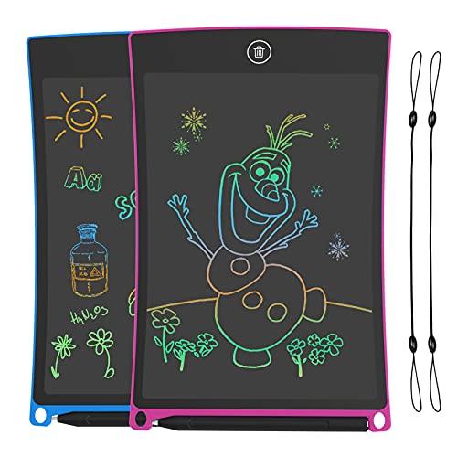 2 Pack Tabletas de Escritura LCD 8.5 Pulgadas,Tablet para Dibujo Niños con Llneas de Colores Brillantes, Excelente Pizarra Digital, perfecta como Fantastic Pad Juguetes Educativos para Niños.