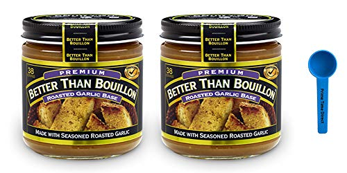 Better Than Bouillon Roasted Garlic Base 8 oz (Pack of 2) Bundled with PrimeTime Direct Teaspoon Scoop with BTB Authenticity Seal