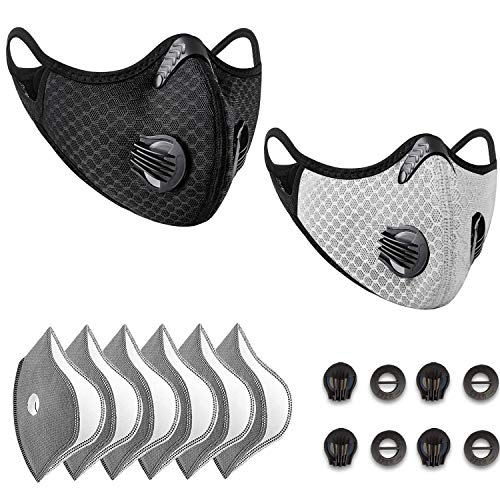 Dust Mask Anti-Pollution Sports Mask with 6 Activated Carbon Filters and 4 Valves Dustproof Face...