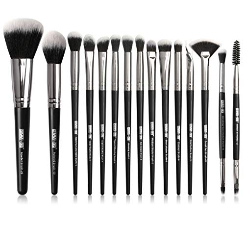 Make-up Pinsel 15Pcs Make-up Pinsel Set Professionelle Make-up Pinsel Premium Synthetic Foundation Pinsel Travel Soft Blending Gesichtspuder Rouge Concealer Augen Make-up Pinsel Set -Schwarz Silber