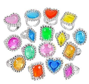 Rhode Island Novelty Plastic Jewel Rings 24 Count Assortment
