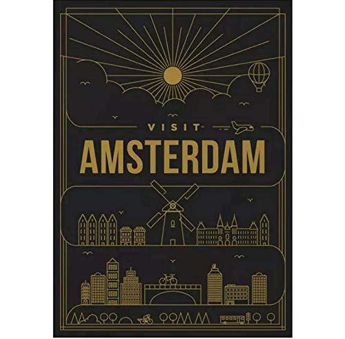 Jindongya Visita Amsterdam Paesi Bassi Minimal Drawing Poster Wall Art Pictures Dipinti su Tela Decorazione del Soggiorno(60X80Cm) -24x32 Pollici Senza Cornice