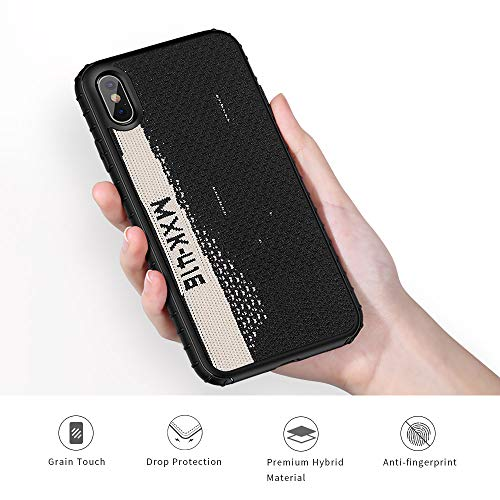 iPhone X Case, [Yeezy 350] Knitted Fabric Cover with Hard PC [SGS Certified] Anti-Slip and Shock Absorbing Protective Ultra Slim Phone Case for iPhone Xs 5.8 Inch(Black &White)