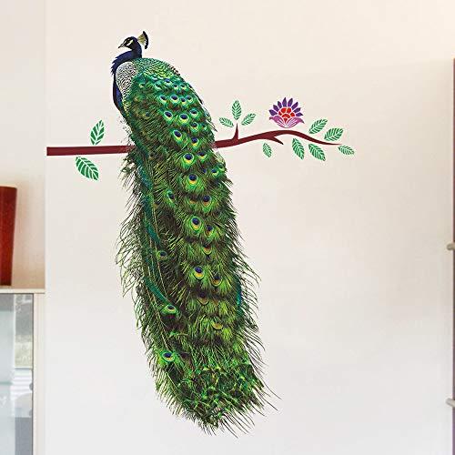 AmyGline DIY Wandaufkleber Aufkleber 3D pfau Umwelt Wandbild Wandaufkleber Aufkleber Removable Schlafzimmer Wohnzimmer Dekor