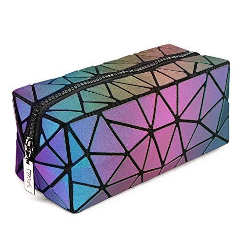 Tikea Make up Tasche, Geometrische Kosmetische Handtasche, Fashion Faltbar Aufbewahrungstasche, Quadratische Kosmetiktasche, Holographische Geldbörse für Frauen Mädchen Leuchtend