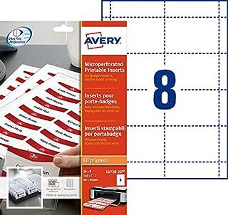 AVERY - Pochette de 160 inserts imprimables pour badges, En carte blanche 190g/m², Format 90 x 60 mm, Impression laser / j...