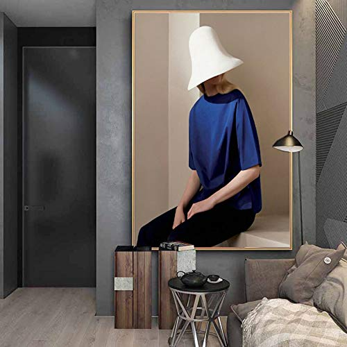 N / A Retrato Abstracto de niña, Pintura al óleo Impresa en Lienzo, póster e Impresiones utilizados para la decoración de la Pared en la habitación Moderna del Pasillo Sin Marco 20x30 cm