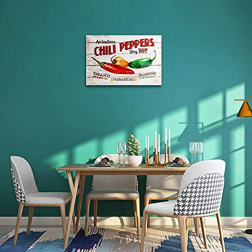 Chili Peppers Tin Signs, Metal Wall Signs Perfect for Kitchen Decor