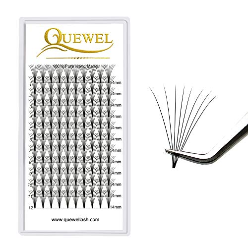 Russian Volume Premade Fans Eyelashes Extension 7D 8D Thickness 0.07mm Curl C/D Length 8-15mm by Quewel(8D-0.07-C-10mm)
