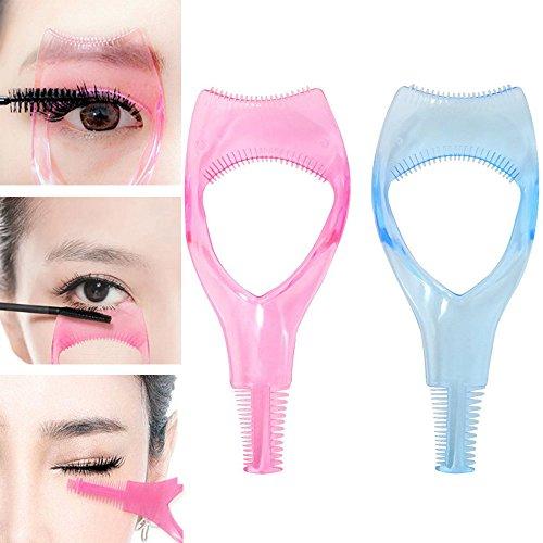 2x Demarkt Wimpern Schablone 3 In 1 Mascara Applikator Make Up Wimpern Werkzeug Leitfaden Werkzeug Applikator Guide mit Wimper Kamm für Frauen Blau Rosa
