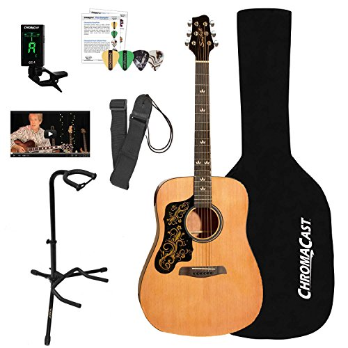 Sawtooth Left-Handed Acoustic Dreadnought Guitar with Black Pickguard w/Custom Graphic & ChromaCast Accessories, Natural