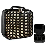 L'GLADKING Travel Makeup Bag Train Case Make Up Organizer Bag Travel Makeup Case for Women Cosmetic Case with Adjustable Dividers for Makeup Brushes Toiletry Jewelry Digital Accessories (black)