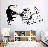Mascota Divertida Decoración Fresca Pegatinas De Pared Mural Dormitorio Decoración del Hogar Pelea De Gatos con Habitación De Perro Pegatinas De Pared De Vinilo para Habitación De Niños 76 * 42