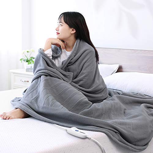 Electric Heated Blanket Full Size 77'' x 84'' Heated Throw for Whole Body Warming & Extra Large Size, 4 Heating Levels and 10H Auto-Off with Overheating Protection - Grey