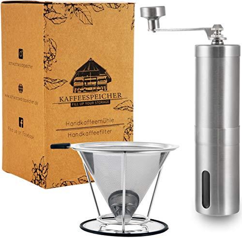 Kaffee-Set | Handkaffeemühle mit Keramikmahlwerk | Kaffeefilter Edelstahl | Manuelle Kaffeemühle | Mühle & Filter im Set | Edelstahl Handmühle Outdoor