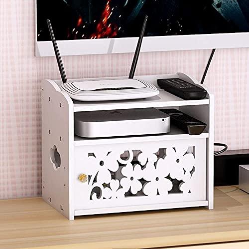 KAXO Caja de Alenamiento Del Gabinete de la Tv de Pvc Del Estante de la Caja de la Caja para el Alenamiento de Los Enrutadores, el Estante Flotante Del Cable Del Zócalo Blanco