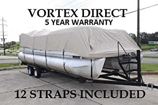 Vortex New Beige 20 FT Ultra 5 Year Canvas Pontoon/Deck Boat Cover, Elastic, Strap System, FITS 18'1