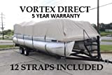 Vortex New Beige 20 FT Ultra 5 Year Canvas Pontoon/Deck Boat Cover, Elastic, Strap System, FITS...