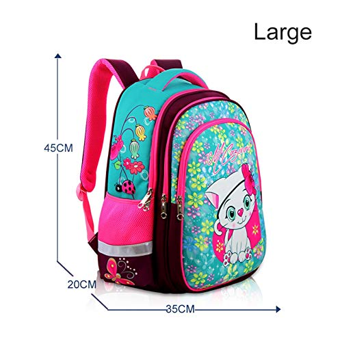 School Girl Backpack 3D Cartoon Cat Girl Bag Child Waterproof Durable Basic Backpack (Color : Large cat)