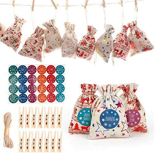 Weihnachten Adventskalender, UHAPEER 2020 24pcs Weihnachten Geschenktüten Zum Befüllen, Süßwaren Taschen, mit 24 Holzclips 10m Seil, Nummer Tags, für DIY Dekoration
