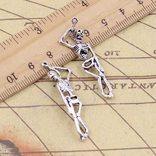 WANM 15 Uds encantos Esqueleto Hombre Halloween 42x8mm Colgantes de Color Plata tibetana fabricación de Joyas Antiguas Manualidades Hechas a Mano para Collar