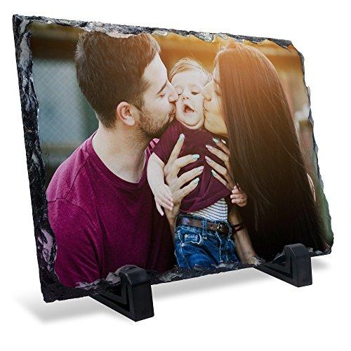 LolaPix Portafotos de Piedra. Regalo Personalizado con Foto. Recuerdo Original. Varios tamaño y Formas. Rectangular 10x15cm