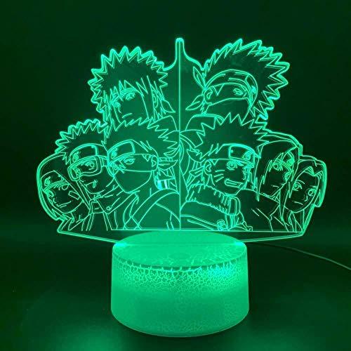 Novedad Luz Anime Naruto Team 7 Kakashi Figura Oficina Decoración del hogar Lámpara de mesa Niños Regalo Niño 3D Óptico Led Lámpara de luz nocturna A-1857