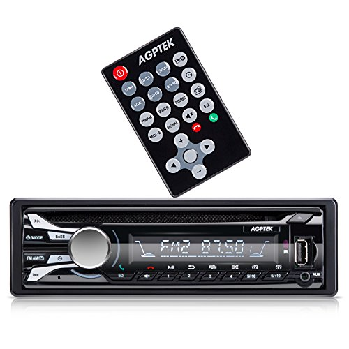 AGPTEK- Autoradio de coche (AM/ FM/ CD/ Bluetooth /USB/ AUX/), Negro