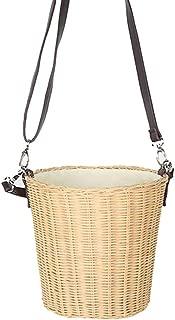 Fashion Handbags Black Belt Fashion White Rattan Bag Straw Bag Drawstring Bag Holiday Style Handbag (Color : Khaki)