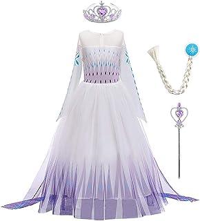 IWEMEK Disfraz de princesa Elsa de Frozen, vestido de princesa de nieve, copo de nieve, vestido de tul + abrigo + pantalon...