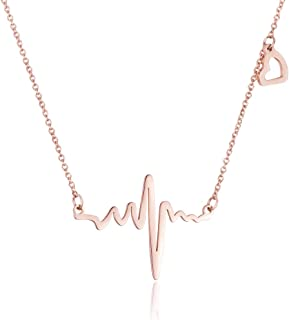 Heartbeat EKG Necklace 18k Rose Gold Plated or Silver-Tone